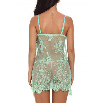 Slit Front Mesh Lace Cami Babydoll - GREEN S