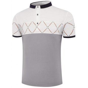 Geometric Pattern Color Block Short Sleeve Polo Shirt