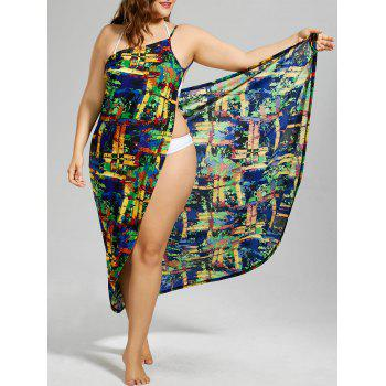 Colorful Print Plus Size Wrap Dress