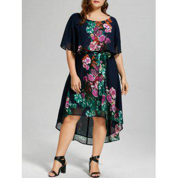 Plus Size Floral Overlay High Low Hem Dress