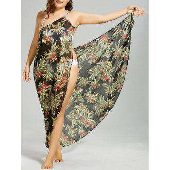 Plus Size Tropical Leaf Cover-up Wrap Dress