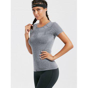 Breathable Ripped Workout T-shirt - GRAY GRAY