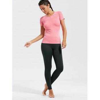 Breathable Ripped Workout T-shirt - DEEP PINK L