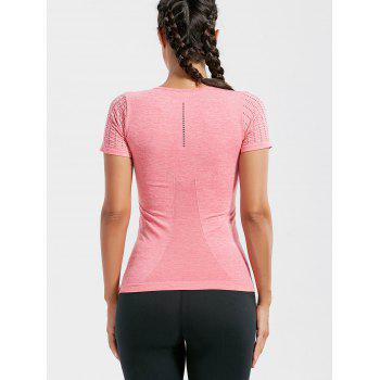 Breathable Ripped Workout T-shirt - DEEP PINK DEEP PINK