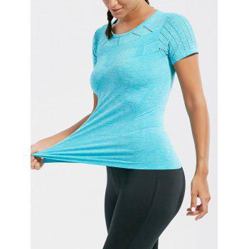 Breathable Ripped Workout T-shirt - LAKE BLUE LAKE BLUE