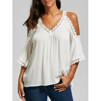 Laced V Neck Cold Shoulder Top