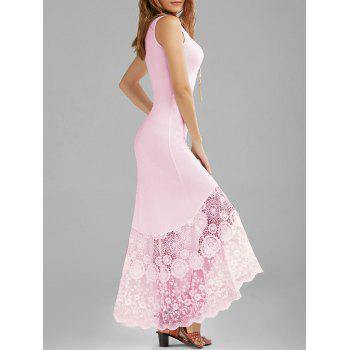 Scalloped Lace Panel Fitted Maxi Tank Dress