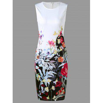 Sleeveless Flower Print Pencil Dress