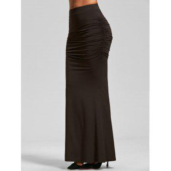 Ruched High Waist Maxi Trumpet Skirt - DARK COFFEE DARK COFFEE