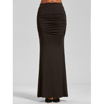 Ruched High Waist Maxi Trumpet Skirt - DARK COFFEE M