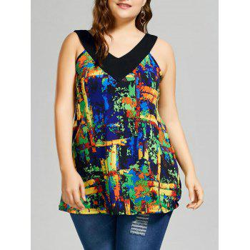 Plus Size Graphic V Neck Tank Top