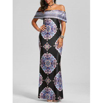 Off The Shoulder Vintage Print Maxi Dress