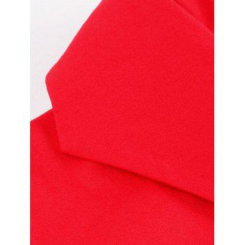 Vintage Color Block Buttoned Flare Dress - RED S