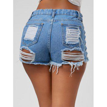 Mid Waist Lace Up Ripped Denim Shorts, DENIM BLUE, S in Shorts ...