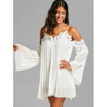 Lace Panel Long Sleeve Mini Chiffon Cami Dress - WHITE WHITE