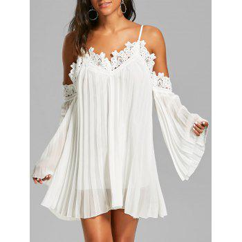 Lace Panel Long Sleeve Mini Chiffon Cami Dress - WHITE S