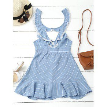Plunging Neck Flounce Striped Backless Dress - BLUE S