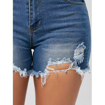 Skinny Denim Ripped Mini Shorts - BLUE M