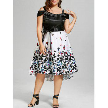 Plus Size Cold Shoulder Butterfly Print Dress
