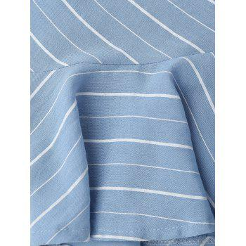 Plunging Neck Flounce Striped Backless Dress - BLUE BLUE