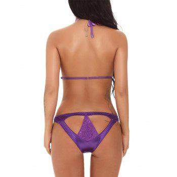 Halter Cutout Deep V Sling Teddy - PURPLE PURPLE