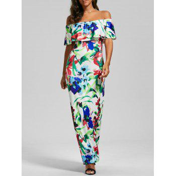 Off The Shoulder Flounce Floral Maxi Dress - COLORMIX COLORMIX