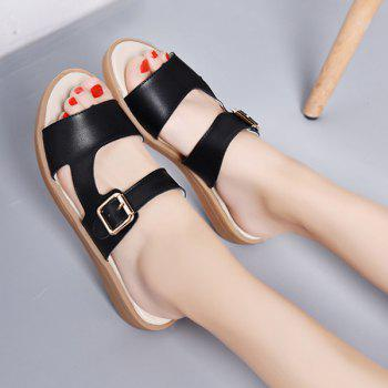 Belt Buckle Flat Heel Slippers - BLACK 38