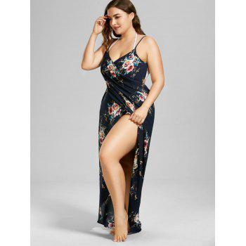 Robe cover up de plage florale taille plus - Bleu Violet 5XL