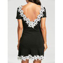 Flower Appliqued Two Tone Dress