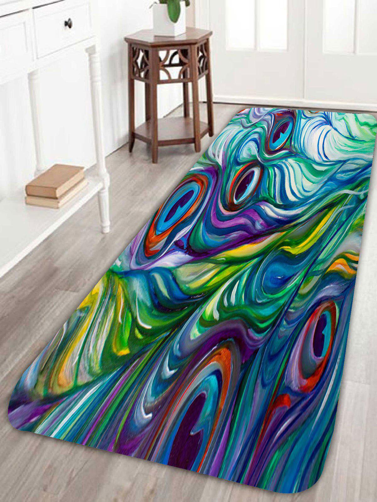 Peacock bathroom rug - Peacock Feather Coral Fleece Skidproof Bath Rug Colorful W16 Inch L47 Inch