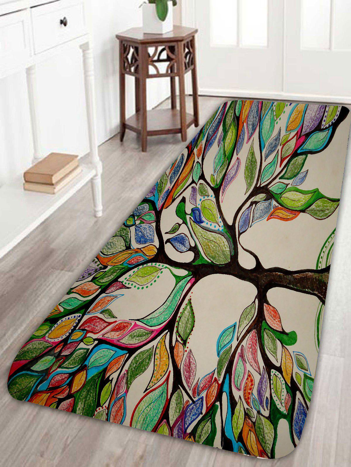 Coral Fleece Colorful Tree Print Bath Rug фото