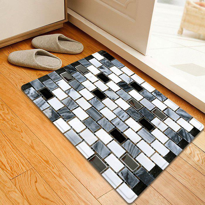 2018 Ceramic Tile Pattern Indoor Outdoor Area Rug BLACK WHITE W INCH ...