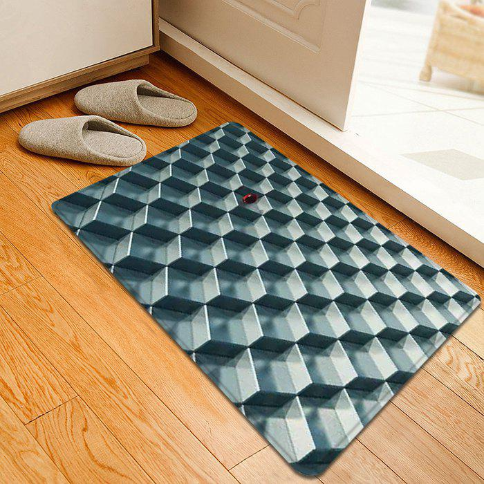 3D Geometric Pattern Indoor Outdoor Area Rug, Silver