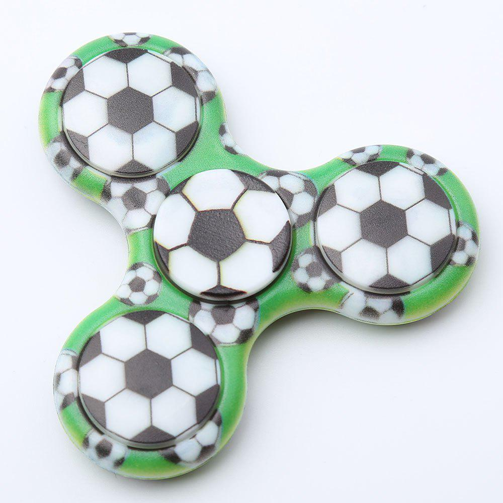 Plastic Tri-bar Soccer Patterned Fidget Spinner - FERN