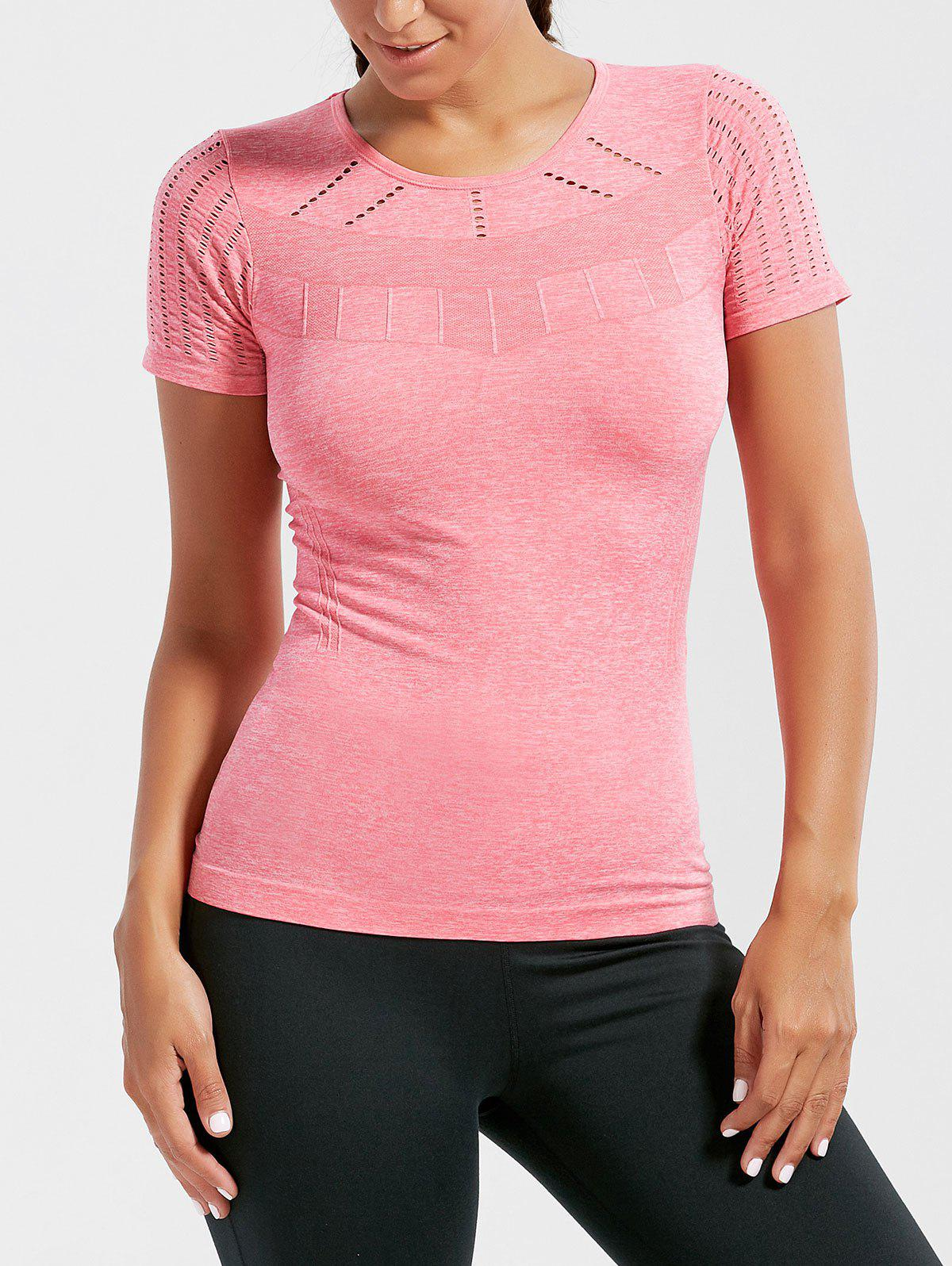 Breathable Ripped Workout T-shirt - DEEP PINK S