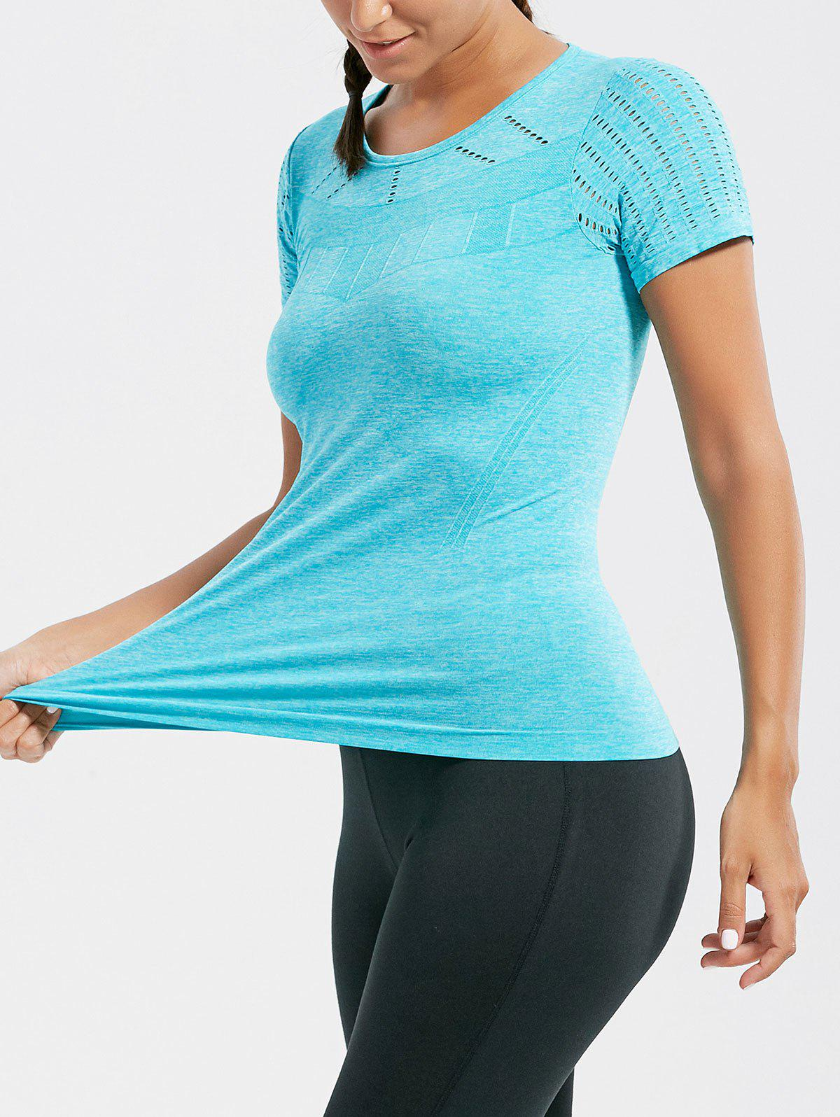 Breathable Ripped Workout T-shirt - LAKE BLUE S