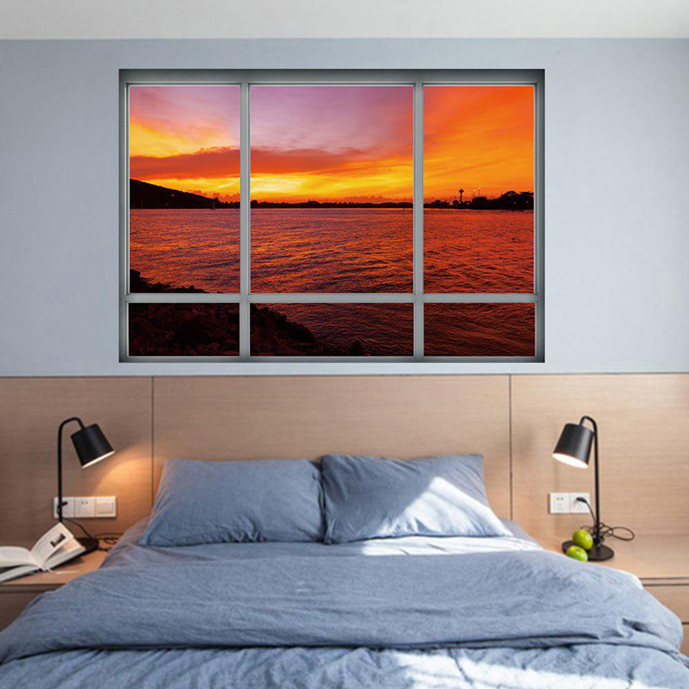 Sea Sunset Window Removable 3D Wall Art Sticker   DARK AUBURN 48.5*68CM ... Part 77