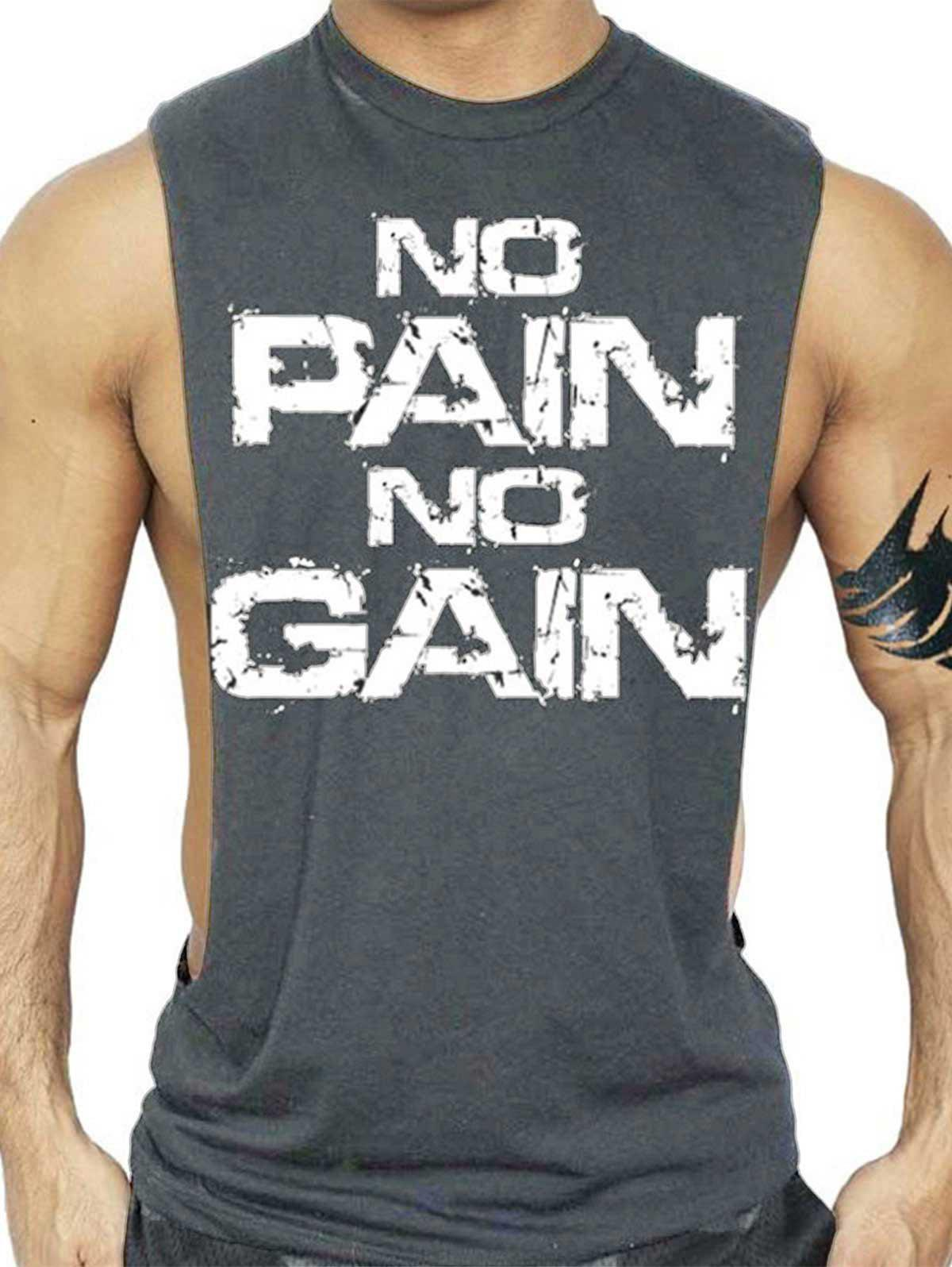 No Pain No Gain Bodybuilding Tank Top - DEEP GRAY L
