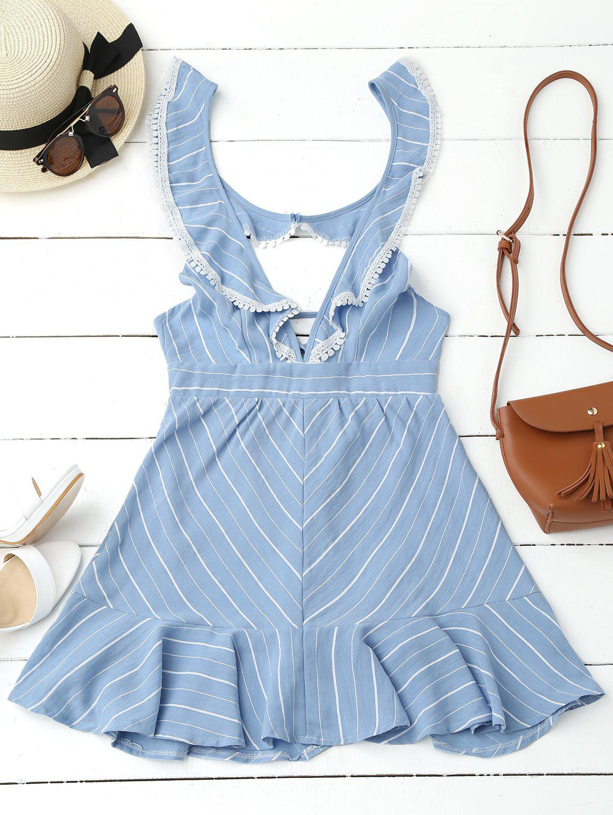 Plunging Neck Flounce Striped Backless Dress - BLUE L