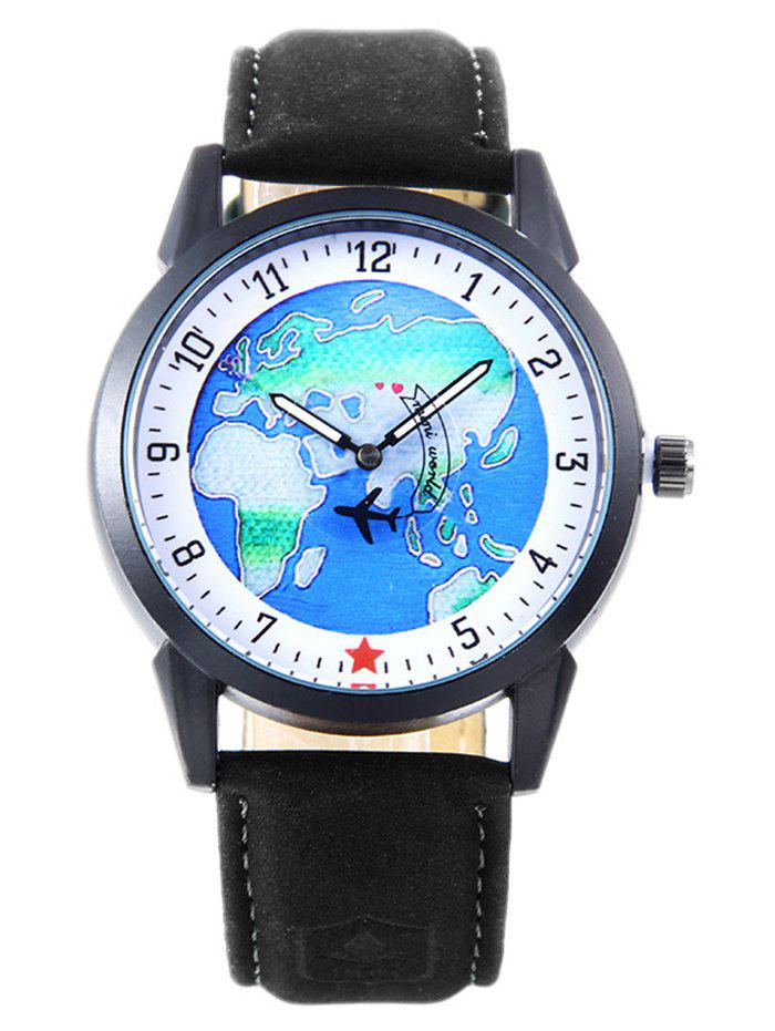 World Map Faux Leather Strap Watch - Noir
