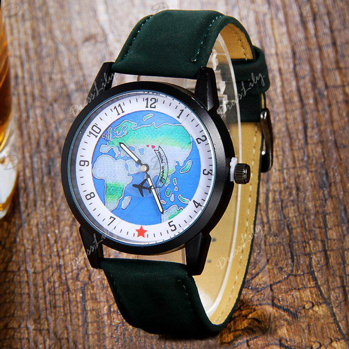 World Map Faux Leather Strap Watch - Vert