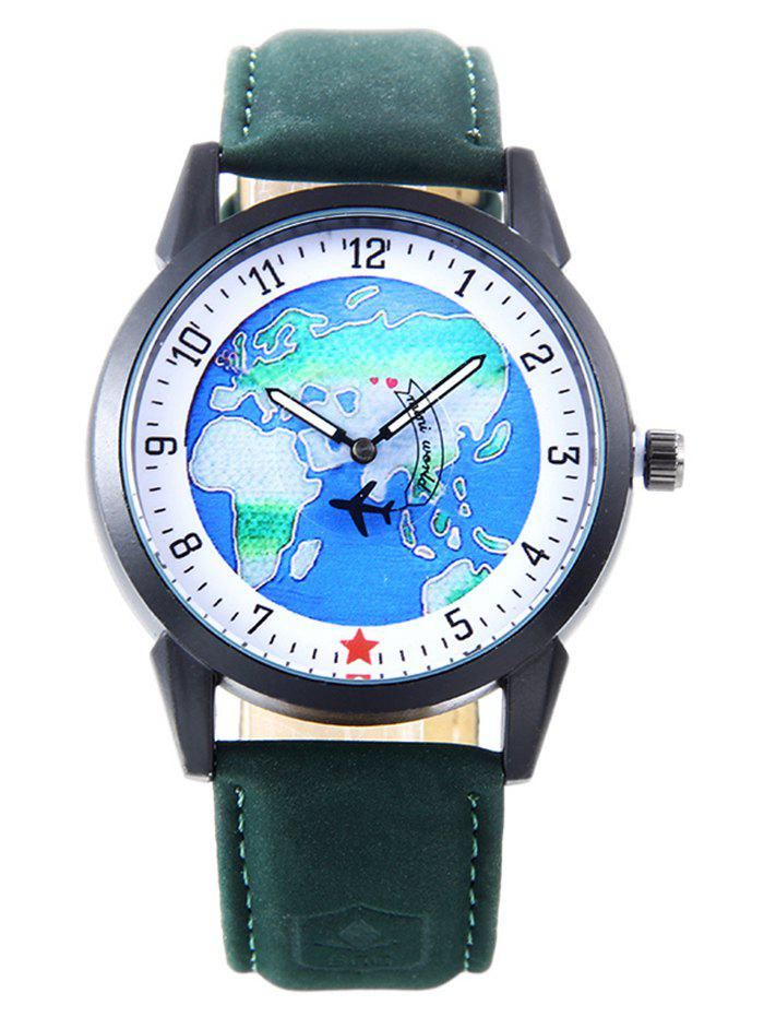 World Map Faux Leather Strap Watch - GREEN