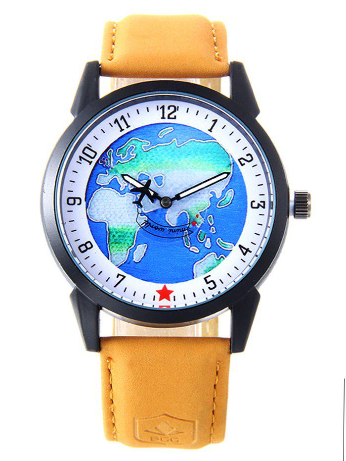 World Map Faux Leather Strap Watch - YELLOW