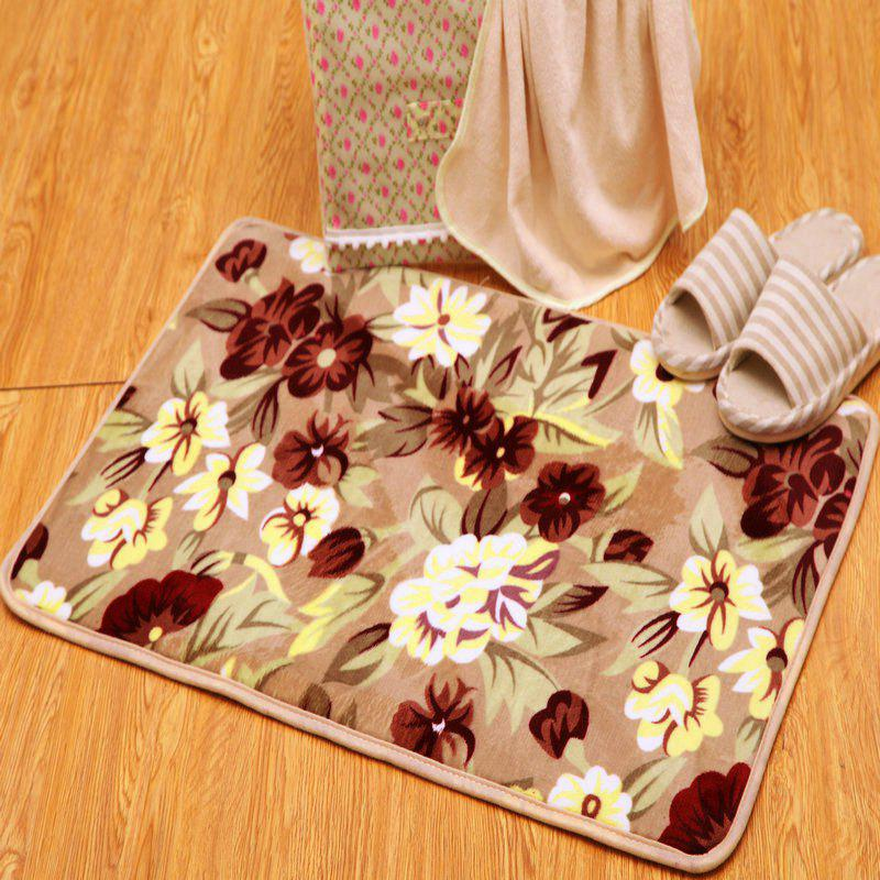 Vintage Floral Home Decor Antislip Soft Rug - KHAKI 50*80CM