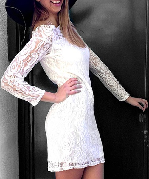 Off-The-Shoulder Long Sleeve Crochet Lace Dress - WHITE S