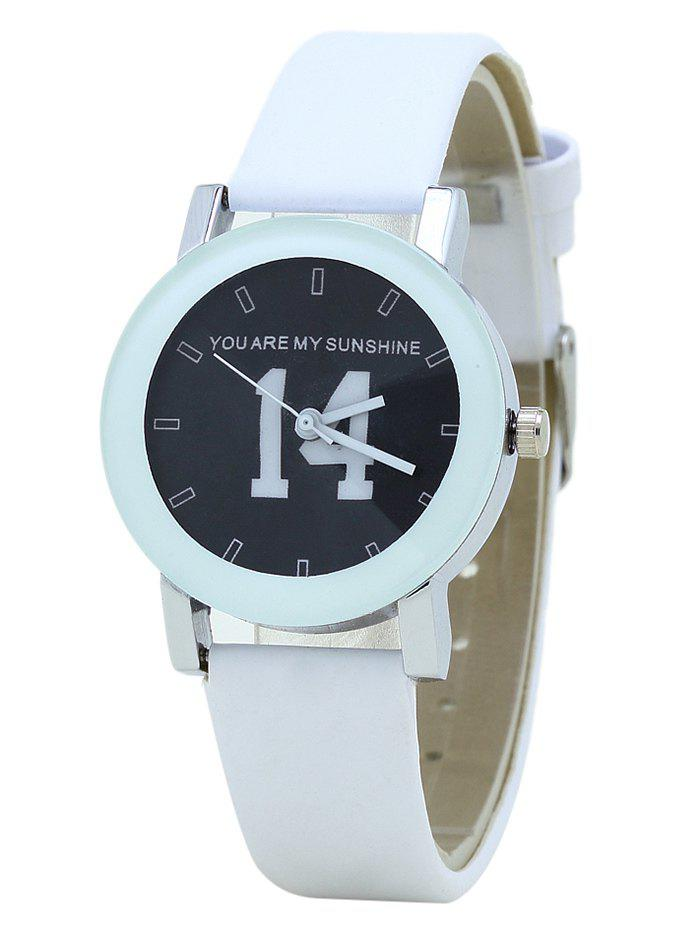 PU Leather Band Number Analog Watch - BLACK WHITE