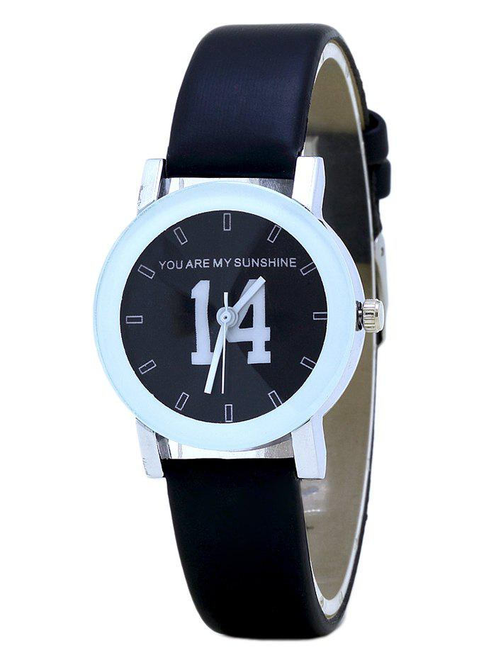 PU Leather Band Number Analog Watch - FULL BLACK