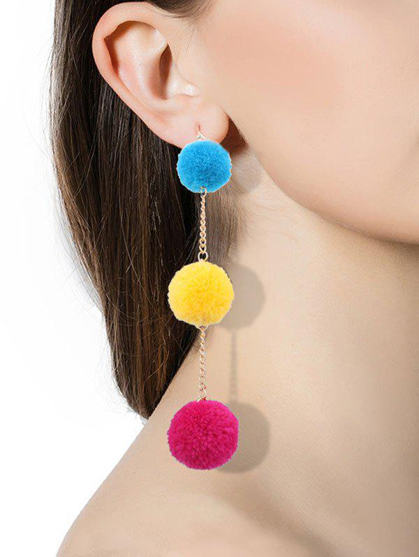 Fuzzy Ball Chain Hook Drop Earrings rhinestone ball hook long chain earrings