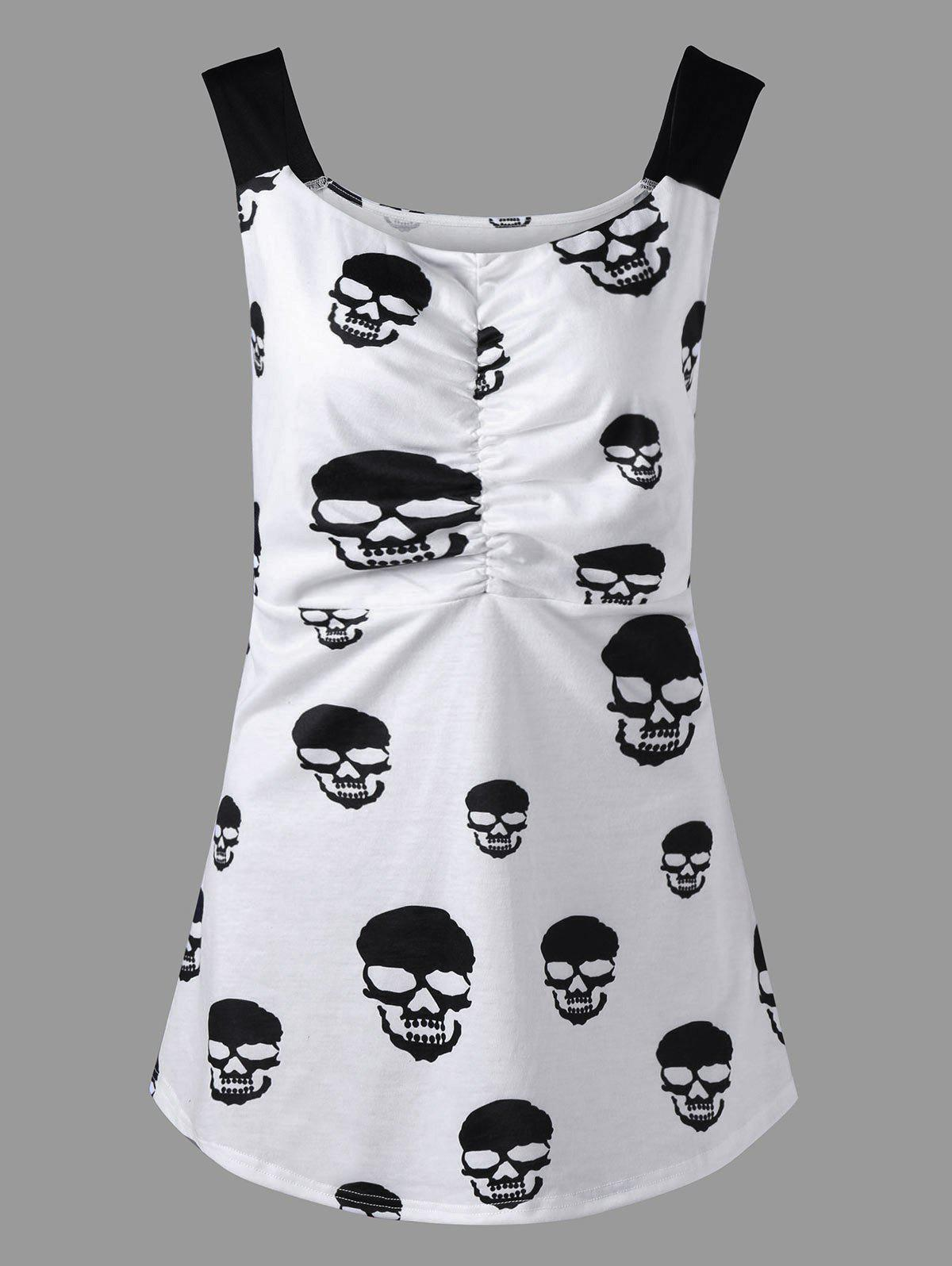 Skull Print Plus Size Ruched Tank Top skull print plus size ruched tank top