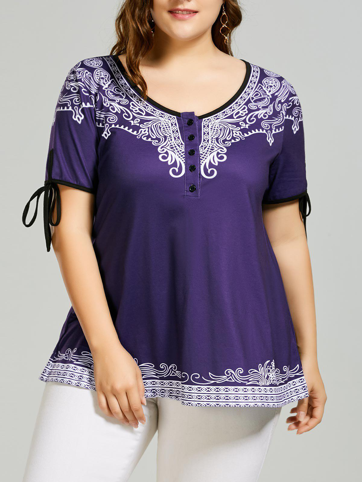 Scoop Neck Self Tie Printed T-shirt - BLUE VIOLET 4XL